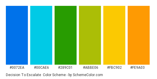 Decision to Escalate - Color scheme palette thumbnail - #0072EA #00CAE6 #289C01 #ABBE06 #FBC902 #FE9A03