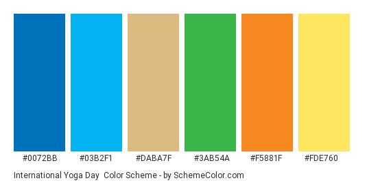 582165113d94c International Yoga Day - Color scheme palette thumbnail -  0072bb  03b2f1   daba7f