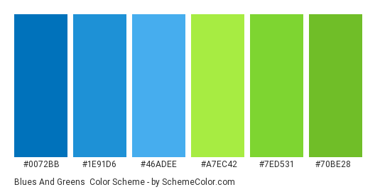 Blues and Greens - Color scheme palette thumbnail - #0072bb #1e91d6 #46adee #a7ec42 #7ed531 #70be28