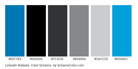 LinkedIn Website - Color scheme palette thumbnail - #0077b5 #000000 #313335 #86888a #caccce #00a0dc