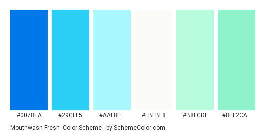 Mouthwash Fresh - Color scheme palette thumbnail - #0078ea #29cff5 #aaf8ff #fbfbf8 #b8fcde #8ef2ca