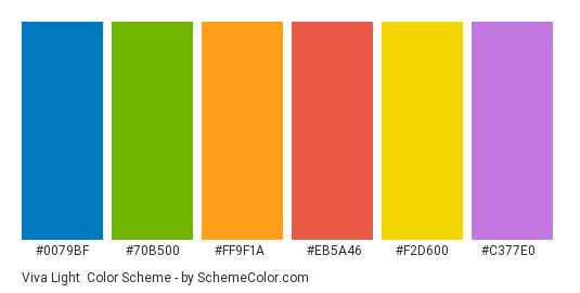Viva Light - Color scheme palette thumbnail - #0079bf #70b500 #ff9f1a #eb5a46 #f2d600 #c377e0