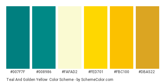 Teal and Golden Yellow - Color scheme palette thumbnail - #007f7f #008986 #fafad2 #fed701 #fbc100 #dba522