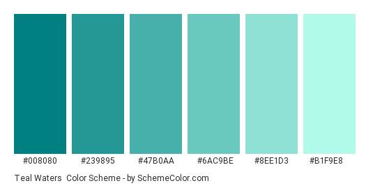 Teal Waters - Color scheme palette thumbnail - #008080 #239895 #47B0AA #6AC9BE #8EE1D3 #B1F9E8
