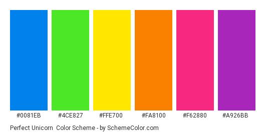 Perfect Unicorn - Color scheme palette thumbnail - #0081eb #4ce827 #ffe700 #fa8100 #f62880 #a926bb
