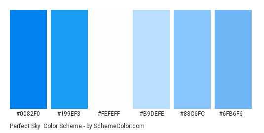 Perfect Sky - Color scheme palette thumbnail - #0082f0 #199ef3 #fefeff #b9defe #88c6fc #6fb6f6