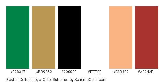 Boston Celtics Logo Color Scheme Palette Thumbnail 008347 Bb9852 000000