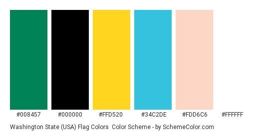Washington State (USA) Flag Colors - Color scheme palette thumbnail - #008457 #000000 #ffd520 #34c2de #fdd6c6 #ffffff