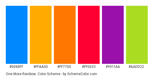 One More Rainbow - Color scheme palette thumbnail - #0088ff #ffaa00 #ff7700 #ff0033 #9911aa #aadd22