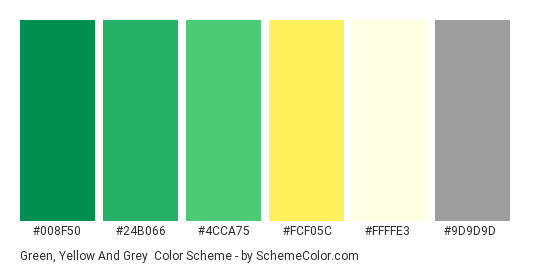 Green, Yellow and Grey - Color scheme palette thumbnail - #008f50 #24b066 #4cca75 #fcf05c #ffffe3 #9d9d9d
