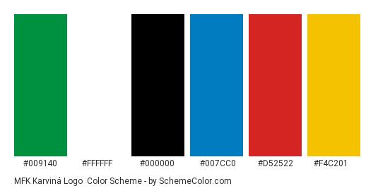 MFK Karviná Logo - Color scheme palette thumbnail - #009140 #ffffff #000000 #007cc0 #d52522 #f4c201