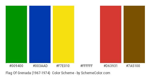 Flag of Grenada (1967-1974) - Color scheme palette thumbnail - #009400 #003AAD #F7E010 #FFFFFF #D63931 #7A5100
