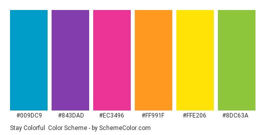 Stay Colorful - Color scheme palette thumbnail - #009dc9 #843dad #ec3496 #ff991f #ffe206 #8dc63a