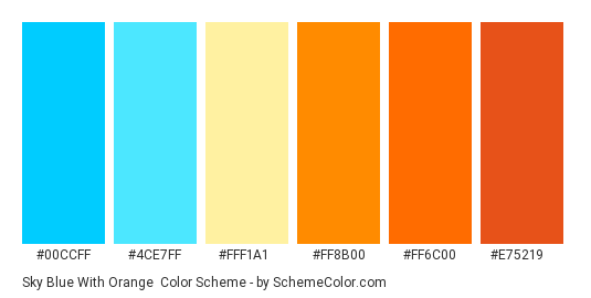 Sky Blue with Orange - Color scheme palette thumbnail - #00CCFF #4CE7FF #FFF1A1 #FF8B00 #FF6C00 #E75219