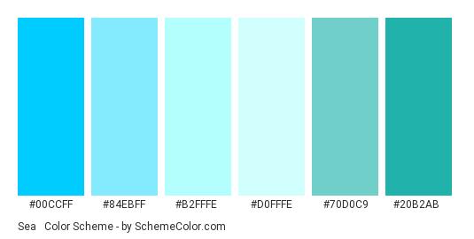 Sea & Sky - Color scheme palette thumbnail - #00CCFF #84EBFF #B2FFFE #D0FFFE #70D0C9 #20B2AB
