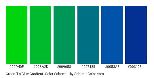 Green to Blue Gradient - Color scheme palette thumbnail - #00D40E #00BA2D #009658 #007185 #0053A8 #003193