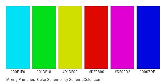 Mixing Primaries - Color scheme palette thumbnail - #00E1F6 #01df18 #d1df00 #df0800 #df00d2 #0007df