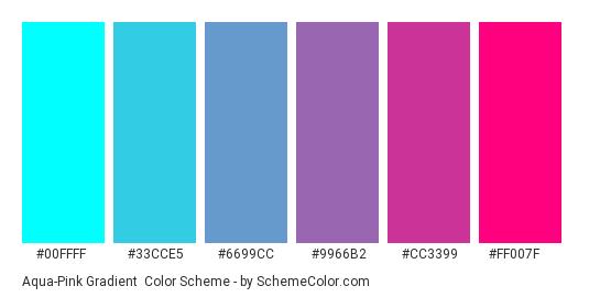 Aqua-Pink Gradient - Color scheme palette thumbnail - #00FFFF #33CCE5 #6699CC #9966B2 #CC3399 #FF007F