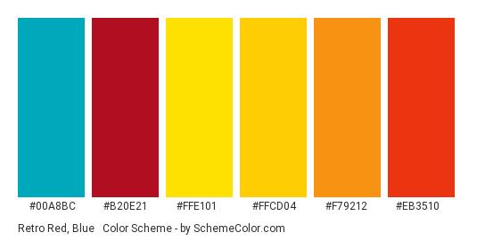 Retro Red, Blue & Gold - Color scheme palette thumbnail - #00a8bc #b20e21 #ffe101 #ffcd04 #f79212 #eb3510