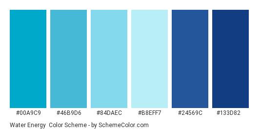 Water Energy - Color scheme palette thumbnail - #00a9c9 #46b9d6 #84daec #b8eff7 #24569c #133d82