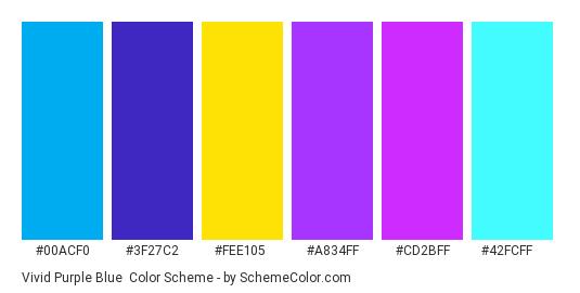 Vivid Purple Blue - Color scheme palette thumbnail - #00acf0 #3f27c2 #fee105 #a834ff #cd2bff #42fcff