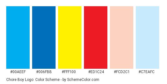 Chore Boy Logo - Color scheme palette thumbnail - #00aeef #006fbb #fff100 #ed1c24 #fcd2c1 #c7eafc