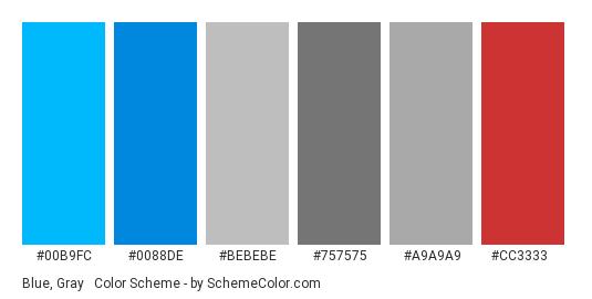 Blue, Gray & Red - Color scheme palette thumbnail - #00b9fc #0088de #bebebe #757575 #a9a9a9 #cc3333