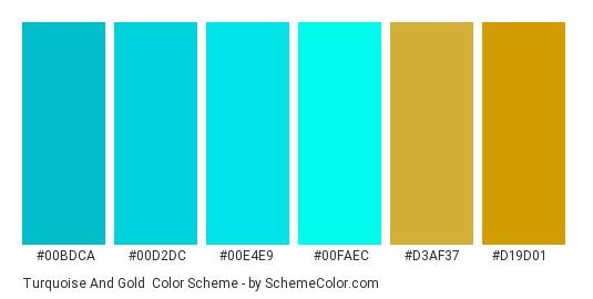 Turquoise and Gold - Color scheme palette thumbnail - #00bdca #00d2dc #00e4e9 #00faec #d3af37 #d19d01