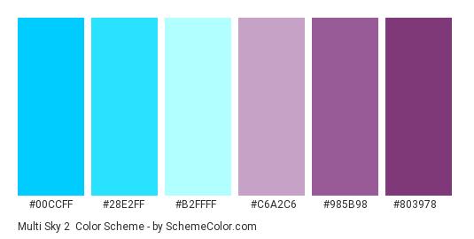 Multi Sky 2 - Color scheme palette thumbnail - #00ccff #28e2ff #b2ffff #c6a2c6 #985b98 #803978