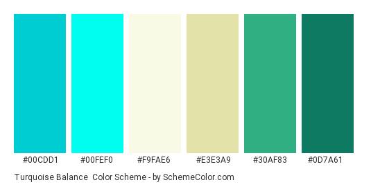 Turquoise Balance - Color scheme palette thumbnail - #00cdd1 #00fef0 #f9fae6 #e3e3a9 #30af83 #0d7a61