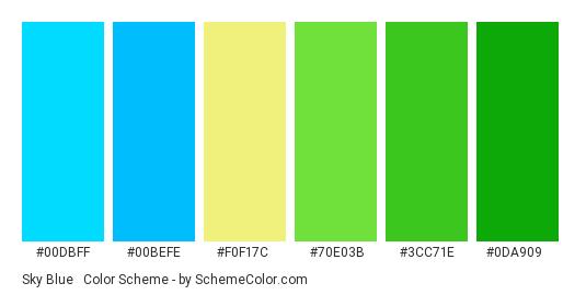 Sky Blue & Green - Color scheme palette thumbnail - #00dbff #00befe #f0f17c #70e03b #3cc71e #0da909