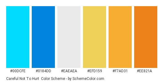 Careful Not to Hurt - Color scheme palette thumbnail - #00dcfe #0184dd #eaeaea #efd159 #f7ad31 #ee821a