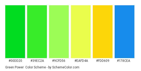 Green Power - Color scheme palette thumbnail - #00dd20 #39ec2a #9cfd56 #eafd4a #fdd609 #178cea