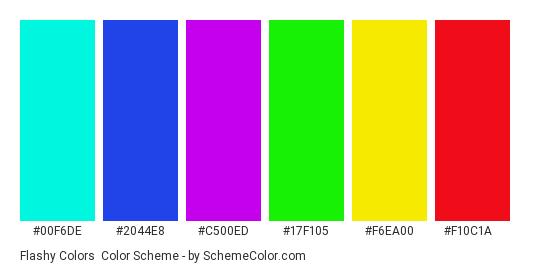 Flashy Colors - Color scheme palette thumbnail - #00f6de #2044e8 #c500ed #17f105 #f6ea00 #f10c1a