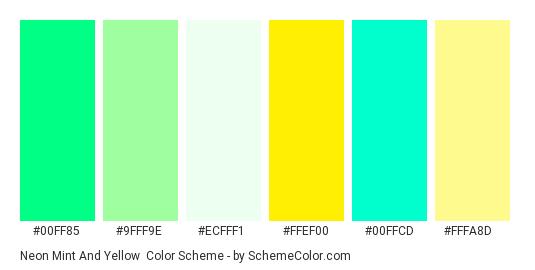 Neon Mint and Yellow - Color scheme palette thumbnail - #00ff85 #9fff9e #ecfff1 #ffef00 #00ffcd #fffa8d