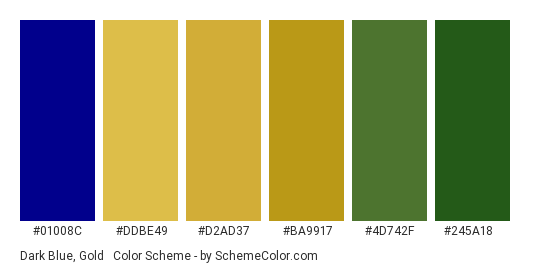 Dark Blue, Gold & Green - Color scheme palette thumbnail - #01008c #ddbe49 #d2ad37 #ba9917 #4d742f #245a18