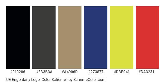 UE Engordany Logo - Color scheme palette thumbnail - #010206 #3b3b3a #a4906d #273877 #dbe041 #da3231