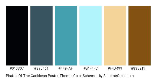 Pirates of the Caribbean Poster Theme - Color scheme palette thumbnail - #010307 #395461 #449FAF #B1F4FC #F4D499 #835211