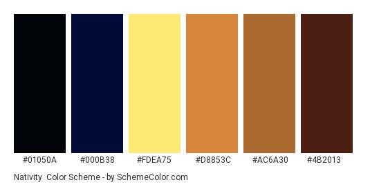 Nativity - Color scheme palette thumbnail - #01050a #000b38 #fdea75 #d8853c #ac6a30 #4b2013