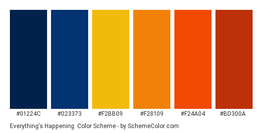 Everything's Happening - Color scheme palette thumbnail - #01224C #023373 #F2BB09 #F28109 #F24A04 #BD300A