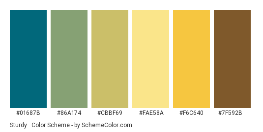 Sturdy & Versatile - Color scheme palette thumbnail - #01687B #86A174 #CBBF69 #FAE58A #F6C640 #7F592B