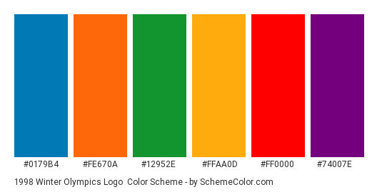 1998 Winter Olympics Logo - Color scheme palette thumbnail - #0179b4 #fe670a #12952e #ffaa0d #ff0000 #74007e