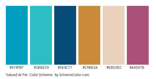 Valued at Par - Color scheme palette thumbnail - #019fbf #2bbec5 #064c77 #c98b3a #e8d2bc #a9507b
