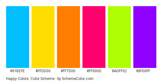 Happy Colors - Color scheme palette thumbnail - #01befe #ffdd00 #ff7d00 #ff006d #adff02 #8f00ff