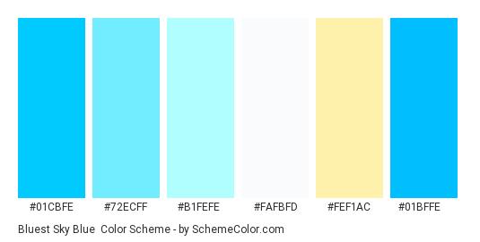 Bluest Sky Blue - Color scheme palette thumbnail - #01cbfe #72ecff #b1fefe #fafbfd #fef1ac #01bffe