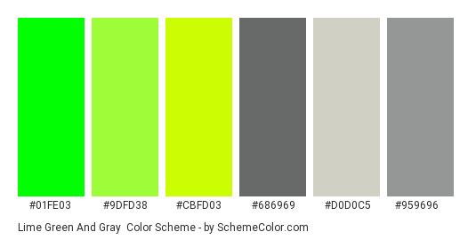 Lime Green and Gray - Color scheme palette thumbnail - #01fe03 #9dfd38 #cbfd03 #686969 #d0d0c5 #959696