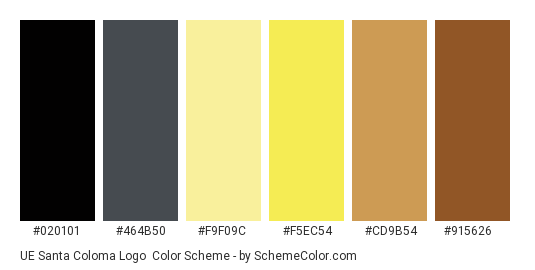 UE Santa Coloma Logo - Color scheme palette thumbnail - #020101 #464b50 #f9f09c #f5ec54 #cd9b54 #915626