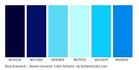 Blue Diamond – Steven Universe - Color scheme palette thumbnail - #020236 #021068 #59dbf8 #b7fdfe #0ccbfd #0086e9