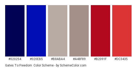Gates to Freedom - Color scheme palette thumbnail - #020254 #020eb5 #b8aba4 #a48f89 #b2091f #dc3435
