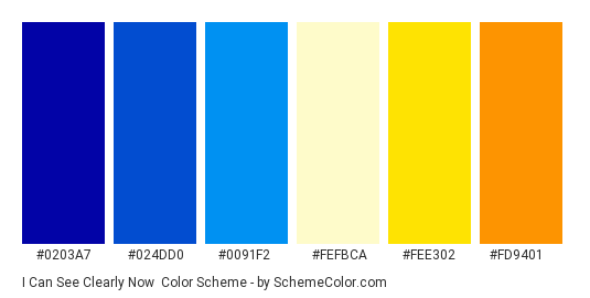 I Can See Clearly Now - Color scheme palette thumbnail - #0203a7 #024dd0 #0091f2 #fefbca #fee302 #fd9401